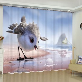 3D Cartoon Lovely Birds and Beautiful Seaside Printed Custom Polyester 3D Curtain for Living Room
