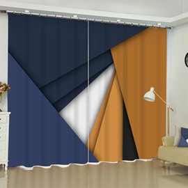 3D Creative Solid Geometry Printed Polyester Custom 2 Panels Blackout Window Curtain