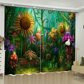 3D Pretty Sunflowers and Mushrooms Printed Mysterious Flower World Custom Curtain