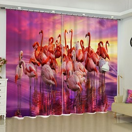 3D Groups of Ostriches Printed 2 Panels Living Room and Bedroom Window Curtain