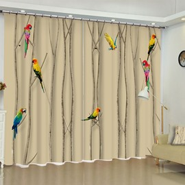 Lovely Birds on the Branches Printed Oil Painting 2 Panels Living Room Curtain
