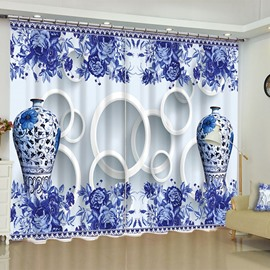 3D Elegant Blue and white Porcelain Printed 2 Panels Custom Bedroom Window Drape