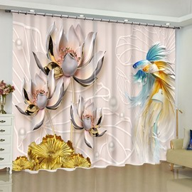 Unique Carved Lotus and Fishes Printed 2 Panels Living Room Window Drapes