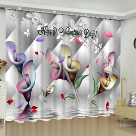 3D Valentine's Day Flowers Printed Polyester Custom Living Room Blackout Curtain