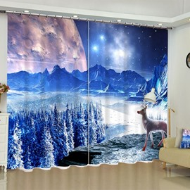 3D Blue Snowy Night and Lovely Deer Printed 2 Panels Custom Bedroom Window Drape