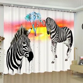 3D Strong Two Zebras Printed 2 Panels Living Room and Bedroom Blackout 3D Curtain
