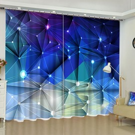 3D Unique Blue Geometry Crisscross Printed Modern Style 2 Panels Custom Curtain