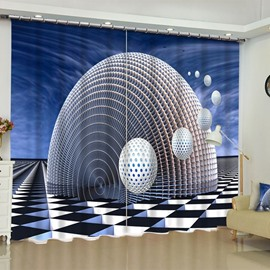 3D Unique Ellipse Building Printed Polyester 2 Pieces Custom Curtain for Living Room