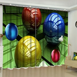 3D Bright Colored Balls Printed Custom Polyester Blackout Curtain for Bedroom