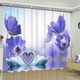 Dreaming Purple Peonies and White Gooses Printed 2 Panels Custom Living Room Curtain