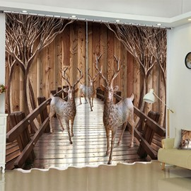 3D Lovely Deer in the Wooden Bridge Printed Custom Curtain for Living Room