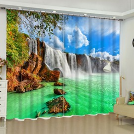 Blue Sky and Green Water Printed Natural Beauty Custom Polyester Living Room Curtain