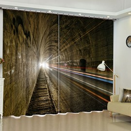 Huge Tunnel Printed Polyester Custom 2 Pieces Blackout Living Room and Bedroom Curtain