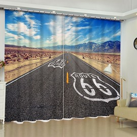 3D Broad Asphalt Road and Boundless Fields Printed 2 Panels Custom Living Room Curtain