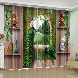 Elegant Peacocks and Retro Shelves Printed 2 Panels Custom Curtain for Living Room