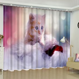 3D Lovely Kitty Printed Custom Polyester 2 Panels Living Room Window Drape