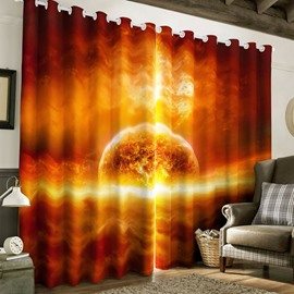 3D Amazing Galaxy Printed 2 Panels Blackout and Decorative Custom Living Room Curtain