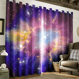 3D Purple Bright Galaxy Printed 2 Panels Living Room Blackout Curtain