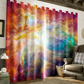 Bright and Resplendent Starry Space Printed 2 Panels Living Room Blackout Curtain