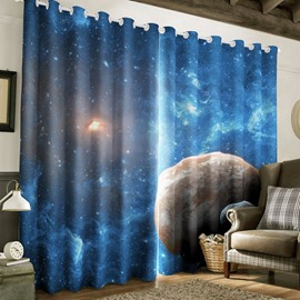 Vast and Blue Galaxy Scene Printed 2 Panels Blackout 3D Curtain for Living Room