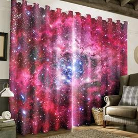 Resplendent Starry Scene Printed Custom Polyester Bedroom Blackout 3D Curtain
