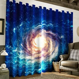 Cosmic Vortex Printed Thick Polyester Decorative and Blackout Living Room Curtain
