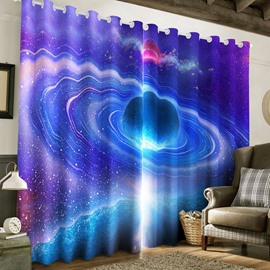 Resplendent Galaxy Scene Printed 2 Panels Thick Polyester Living Room Blackout Curtain