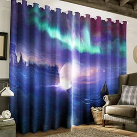 Fantastic Night Sea Scenery Printed 2 Pieces Custom Curtain for Living Room
