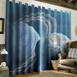 3D Amazing Universe Scenery Printed Thick Polyester 2 Panels Living Room Custom Curtain