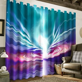 Beautiful Galaxy Scenery with Colorful Bright Light Printed Custom 3D Curtain