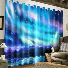 Amazing and Wonderful Galaxy Scenery Printed 2 Panels Living Room Custom Curtain