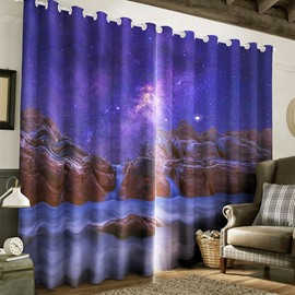 3D Amazing Galaxy Scenery Printed 2 Panels Living Room Custom Curtain