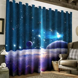 3D Bright Stars and Vast Galaxy Printed Living Room Custom Blackout Curtain