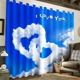 White Clouds Hearts with Blue Sky 2 Panels Living Room and Bedroom Curtain