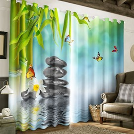 3D Green Bamboos and Stones with Butterflies Natural Style Printed 2 Panels Living Room Curtain
