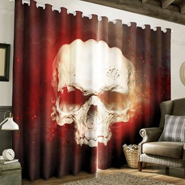 3D Terrible Skull Printed Thick Polyester 2 Panels Blackout Living Room Curtain