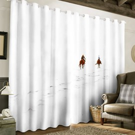 3D Two Horse Running on White Snow Printed Bedroom Window Drape