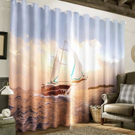 3D Boat Sailing in Rolling Sea Printed 2 Panels Custom Blackout Living Room Curtain