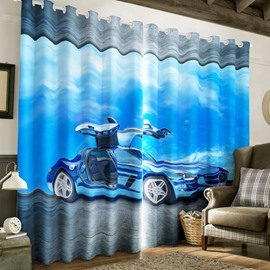 3D Cool Sport Car Printed Modern Style 2 Panels Living Room Blackout Curtain