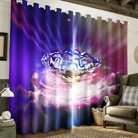Gleamy Diamond Printed Thick Polyester Custom Living Room Blackout Curtain