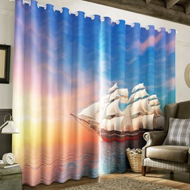 3D Sailing Boat in Broad Sea with Sunset Printed 2 Panels Living Room Curtain