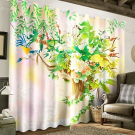 Wonderful Sketch Lady with Flowers Printed Pastoral Style Custom Living Room Curtain