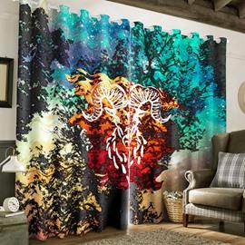 3D Resplendent Night Scenery with Cartoon Unicorn Printed 2 Panels Custom Curtain