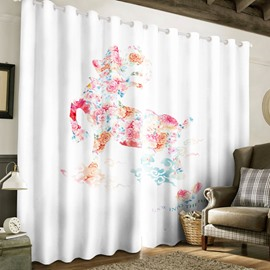 Snowy White Polyester with Rose Horse Printed 2 Panels Grommet Top Curtain