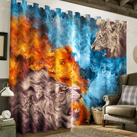 Creative Lions and Woman Figure Printed 2 Panels Living Room Blackout Curtain