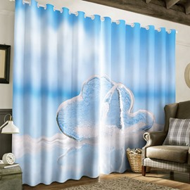 3D Clean Ice and Blue Sky Printed 2 Panels Living Room and Bedroom Curtain
