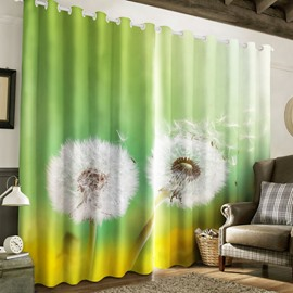 3D Two White Dandelions Printed Custom Living Room Blackout Curtain
