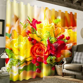 Fresh Red and Yellow Roses with Red Cherries Printed Thick Polyester Custom 3D Curtain