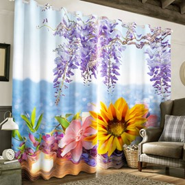 3D Fresh and Pastoral Golden Sunflowers and Purple Hyacinth Printed 2 Panels Living Room Curtain
