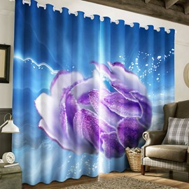 Dreamy Purple Rose Printed Thick Polyester Decorative and Blackout Bedroom Curtain